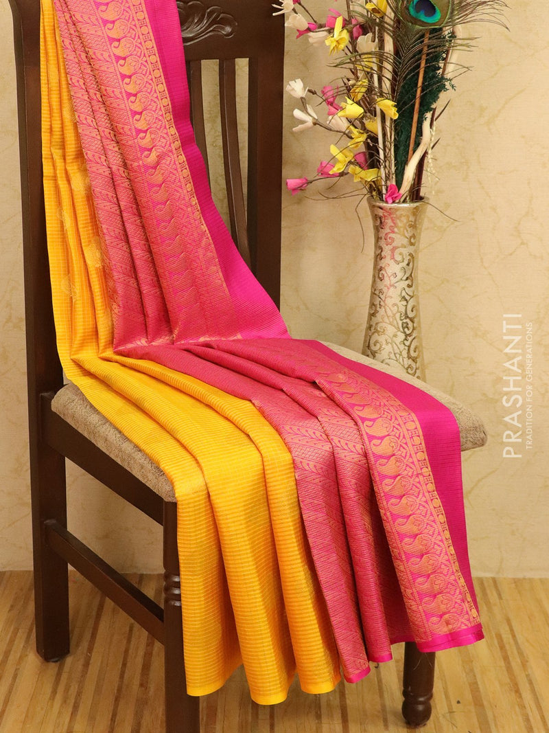 Pure kanjivaram silk saree yellow and pink with zari checks and buttas in borderless style
