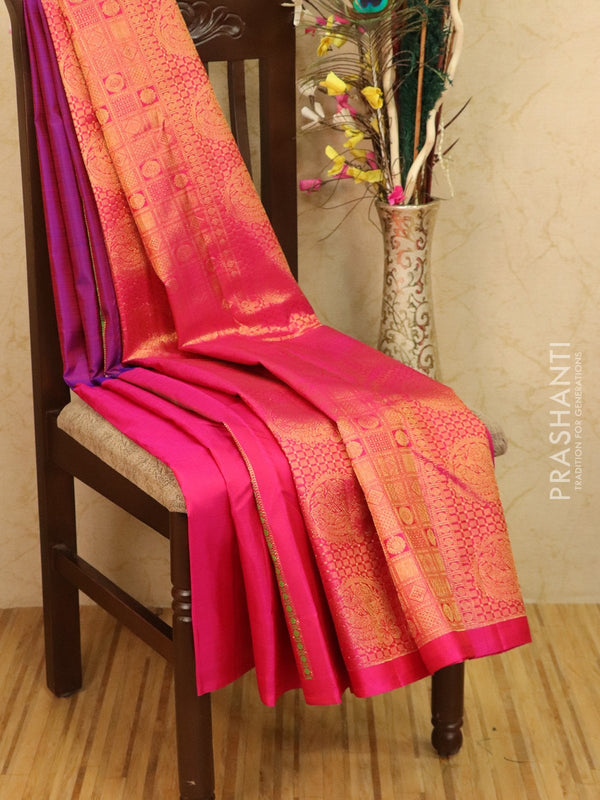 Pure kanjivaram silk saree dual shade of blue and pink with thread and zari woven buttas in borderless style