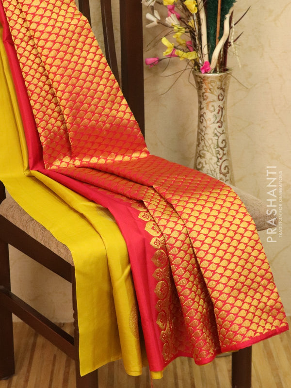 Pure kanjivaram silk saree lime green and red with zari woven buttas in borderless style