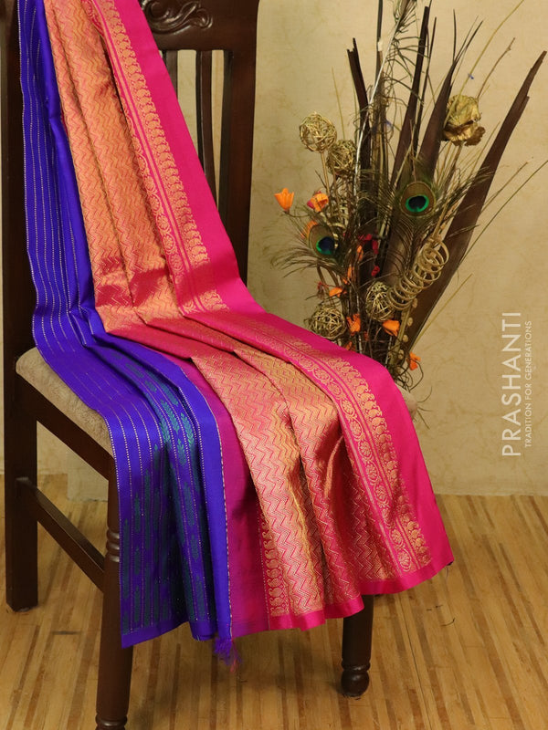 Pure kanjivaram silk saree violet and pink with thread and zari weaves in half and half style