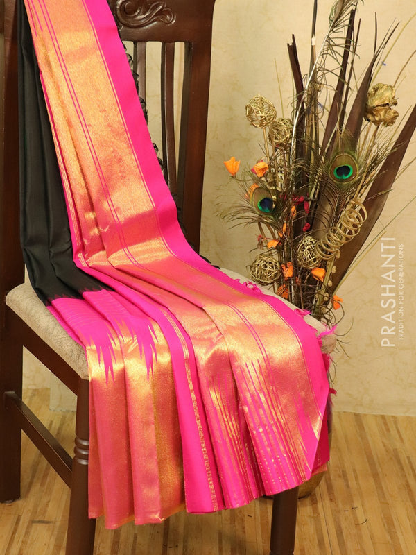 Pure kanjivaram silk saree black and pink with thread woven lines and zari woven temple border