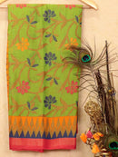 Brasso Saree green and pink with allover floral weaves
