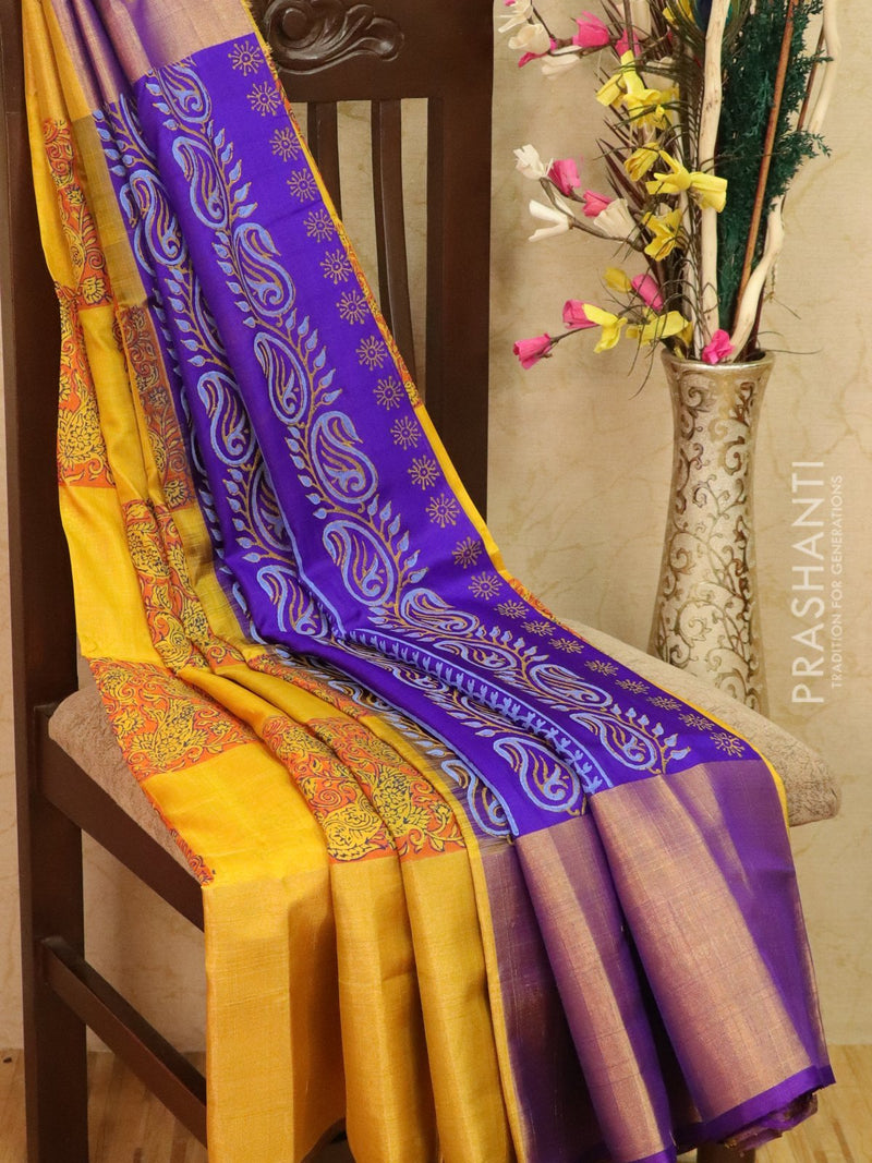 Pure Uppada silk saree yellow and purple with floral prints and long zari border