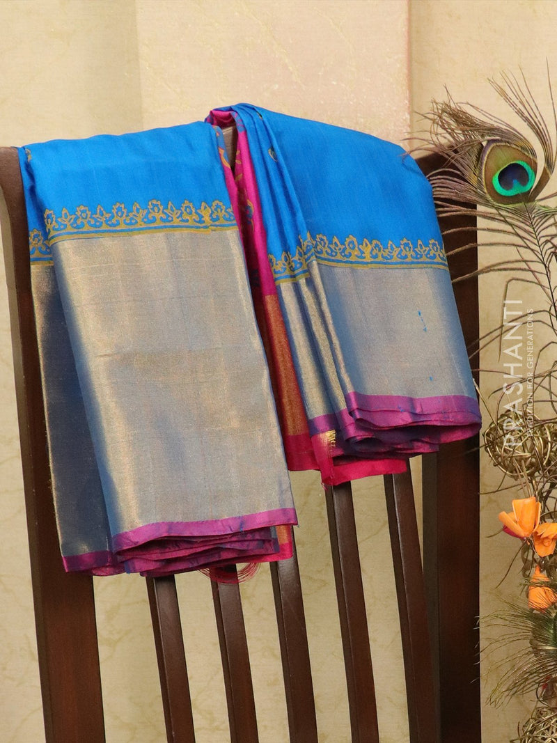 Pure Uppada silk saree cs blue and pink with floral prints and long zari border