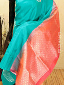 Pure soft silk saree cs blue and orange with silver zari buttas in borderless style