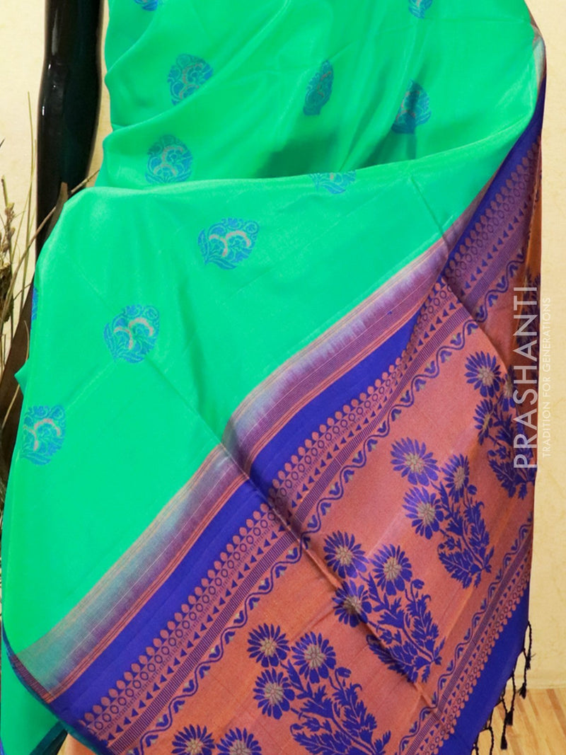Pure soft silk saree green and blue with allover thread buttas in pipping border