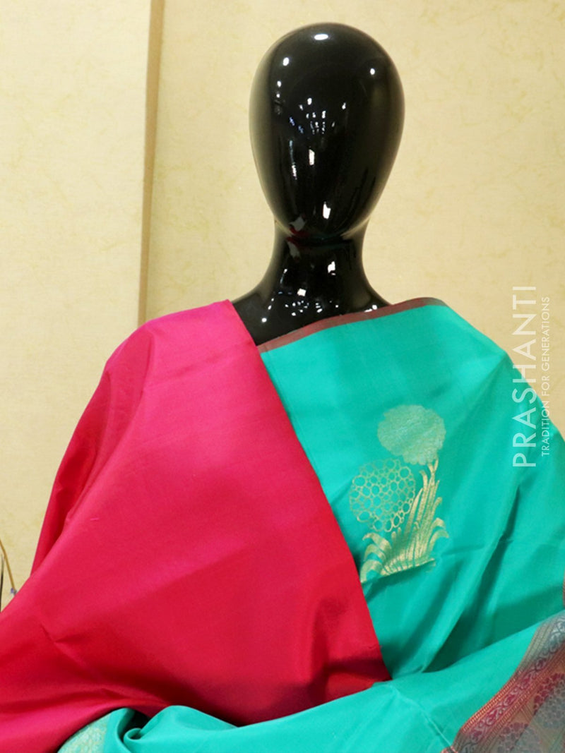 Pure soft silk saree teal and pink with allover zari buttas in pipping border