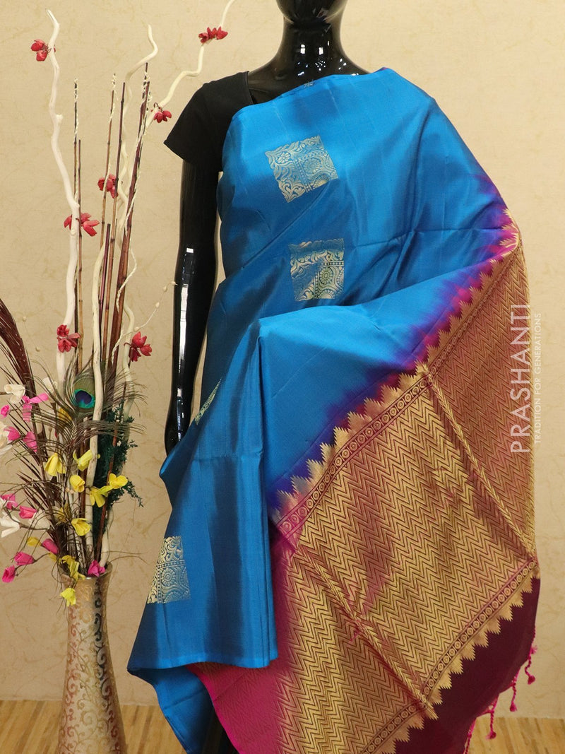 Pure soft silk saree peacock blue and magenta pink with allover zari buttas in borderless style
