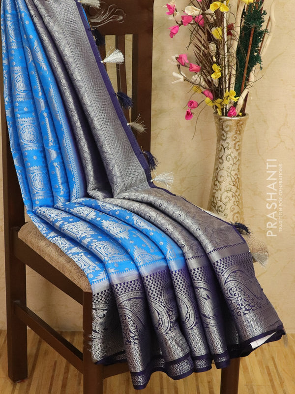 Banarasi semi silk saree blue and navy blue with allover silver zari weaves and rich pallu