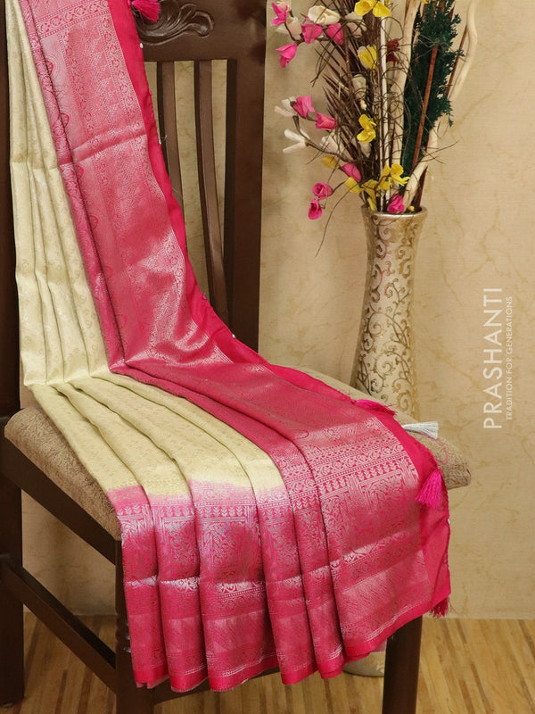 Banarasi semi silk saree off white and pink with allover silver zari weaves and rich pallu