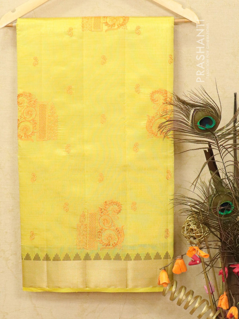 Semi tussar saree yellow with embroided pattern