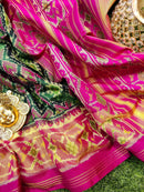 Rajkot patola silk saree green and pink with golden zari border