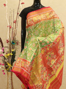Rajkot patola tissue silk saree green and red with golden zari border