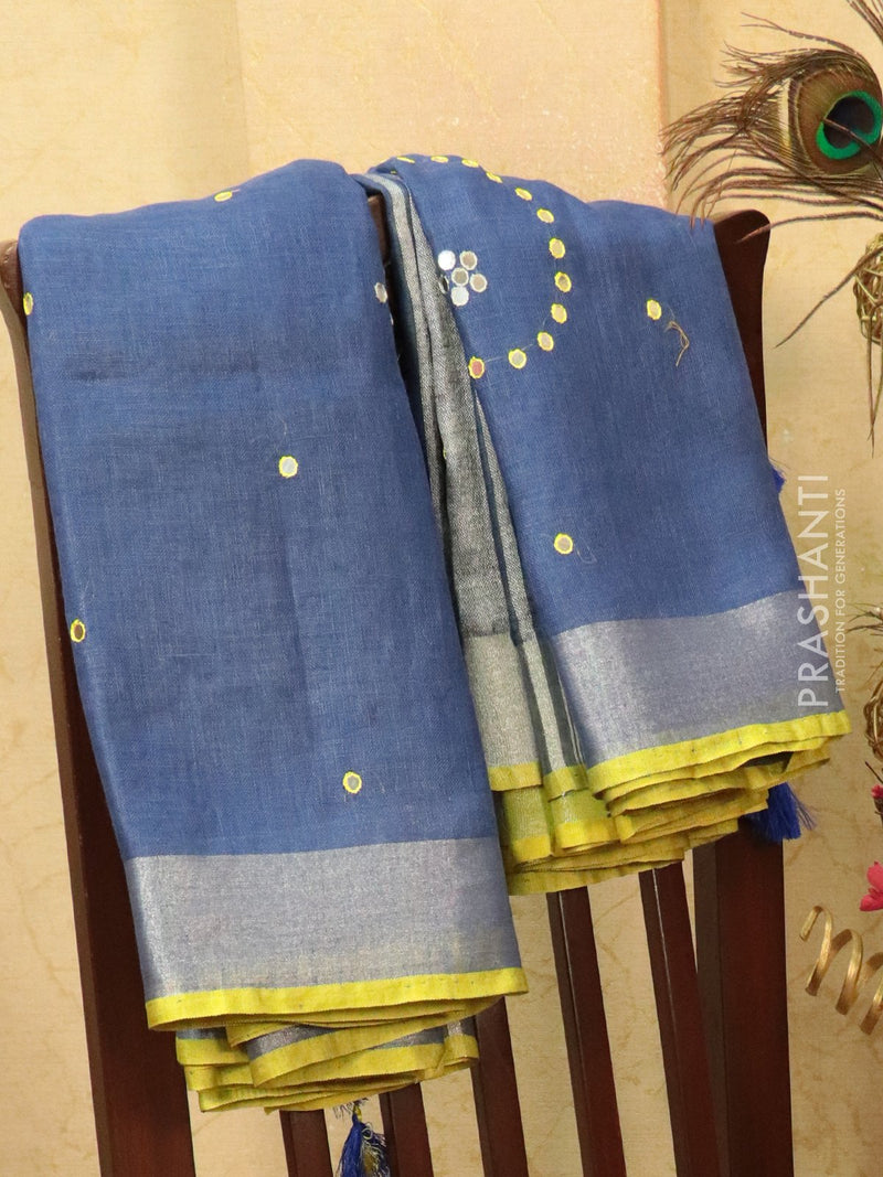 Pure linen saree blue with mirror work and simple border