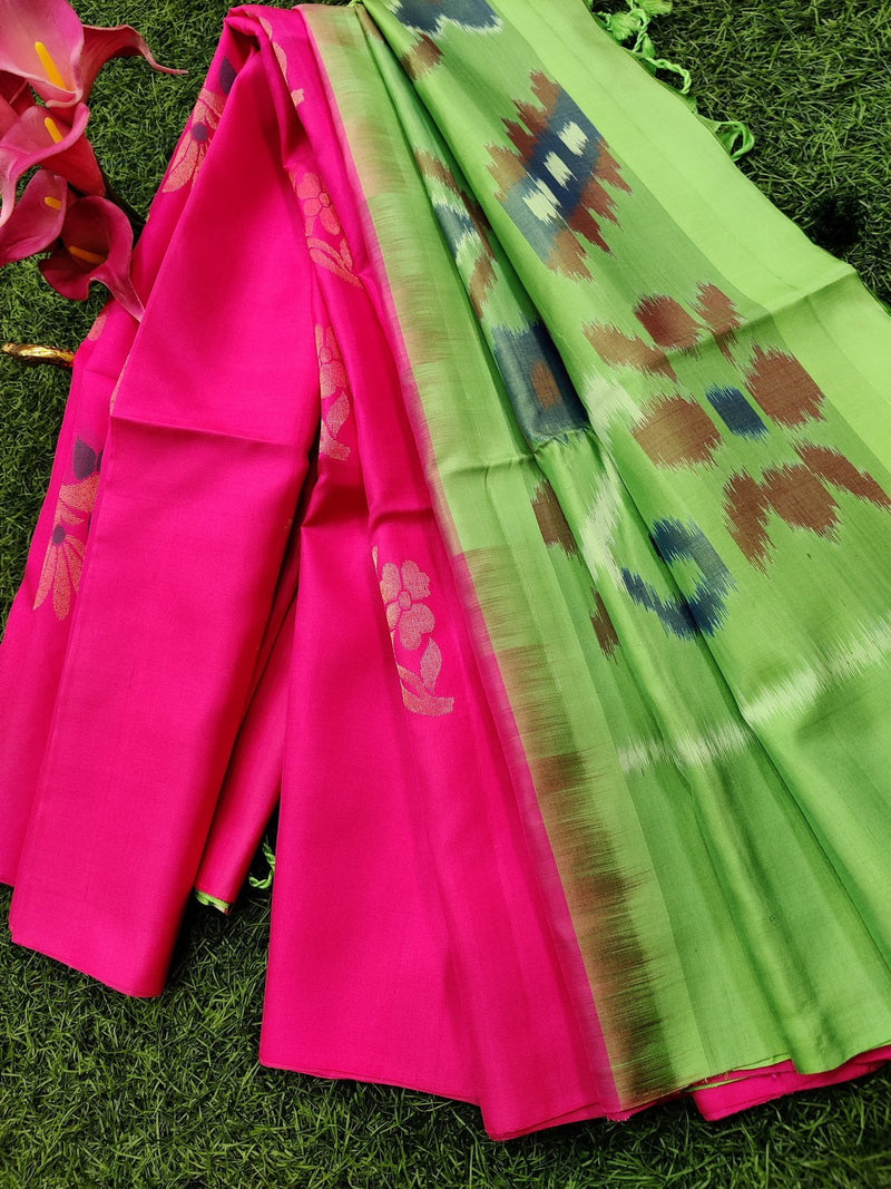 Ikat soft silk saree candy pink and green with floral buttas in borderless style and ikat pallu
