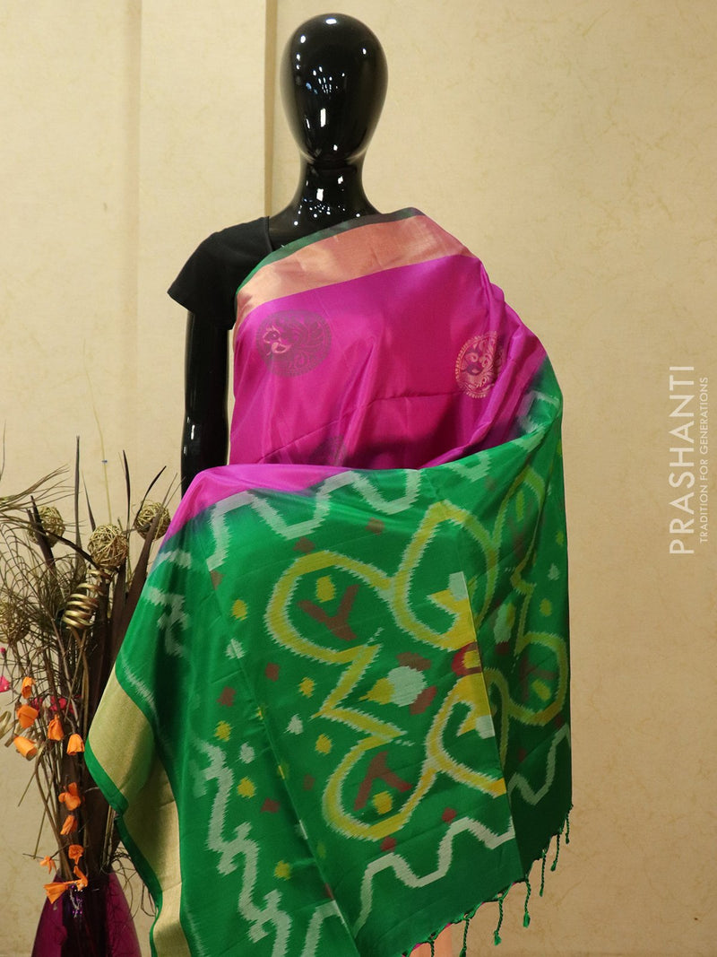Ikat soft silk saree magenta pink and green with floral buttas in kaddi zari border and ikat pallu