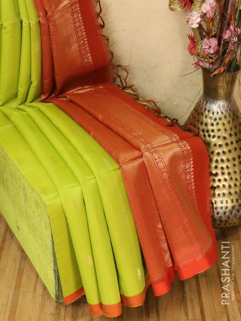 Kora silk cotton saree green and brick orange with zari buttas and piping border