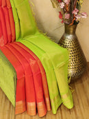Kora silk cotton saree dual shade of pink and green with zari woven buttas and simple zari border