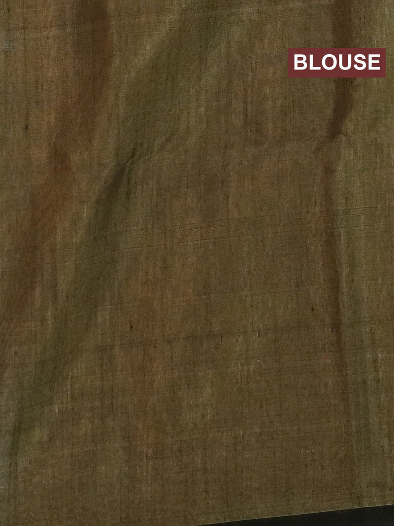 Kora silk cotton saree beige with thread woven buttas and piping border