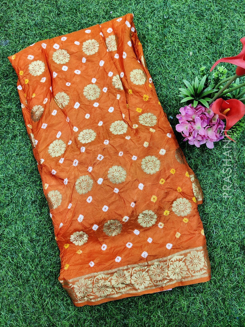 Taffeta bandhani saree orange with zari woven buttas and zari border