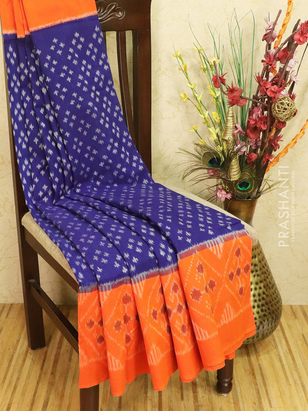 Ikat cotton saree blue and orange with simple border