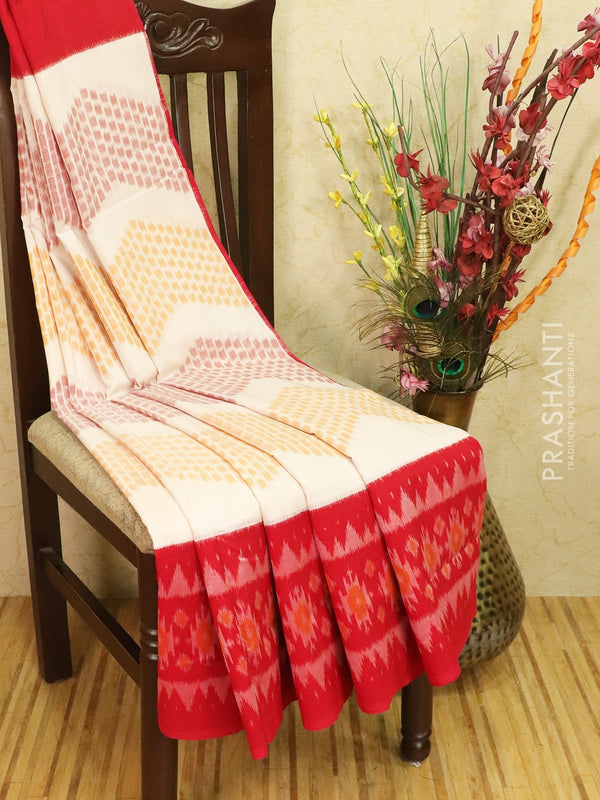 Ikat cotton saree off white and red with ikat woven border