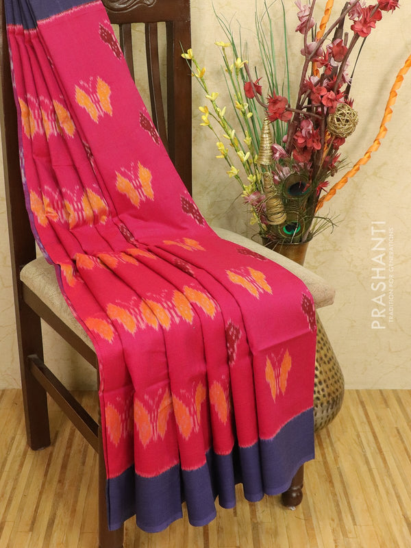 Ikat cotton saree magenta pink and navy blue with ikat woven border