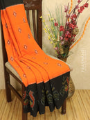Ikat cotton saree orange and black with ikat woven border