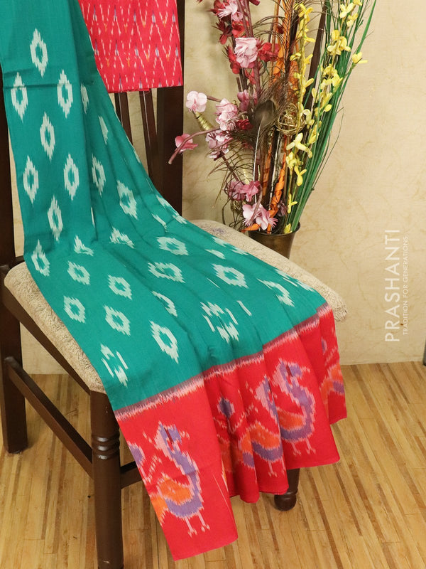 Ikat cotton saree green and red with ikat woven blouse