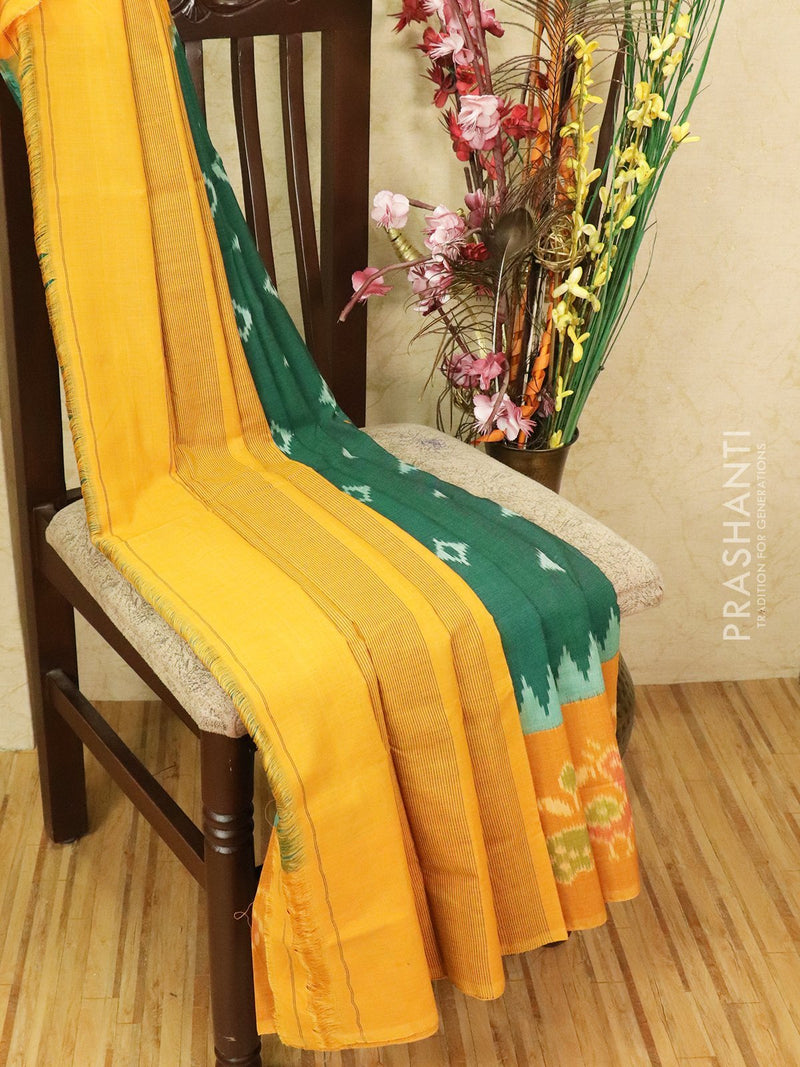 Ikat cotton saree green and mustard yellow with ikat woven blouse