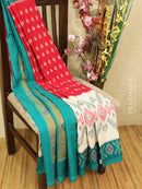 Ikat cotton saree red off white and green with ikat woven blouse