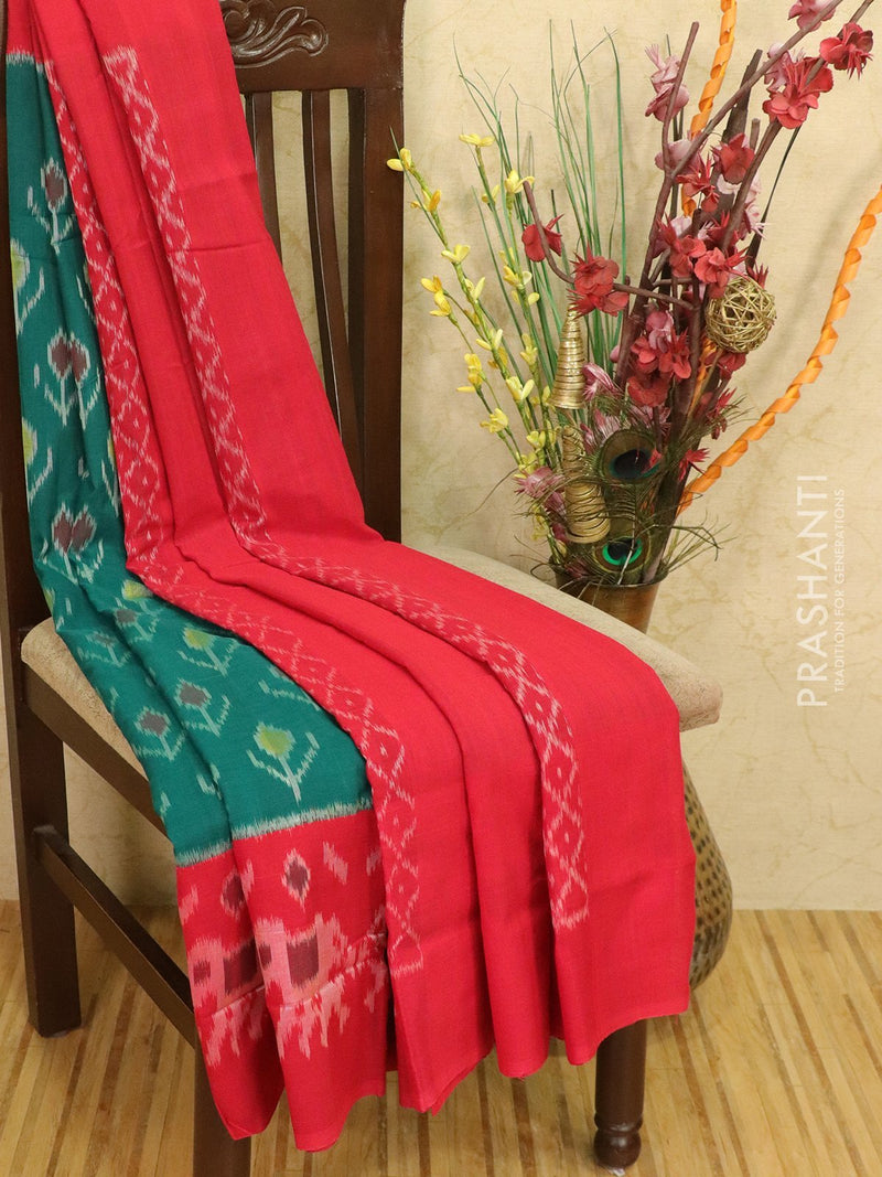 Ikat cotton saree green and red with ikat woven border