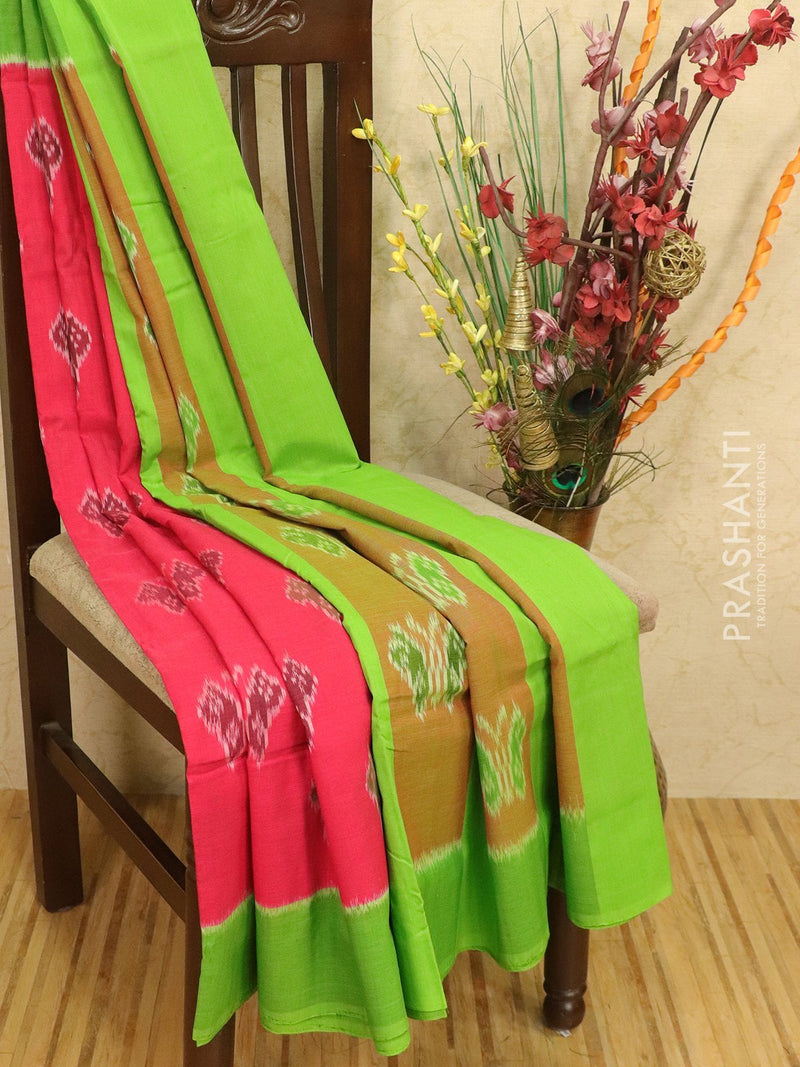 Ikat cotton saree tomato pink and green with simple border