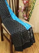 Ikat cotton saree blue and black with ikat woven blouse
