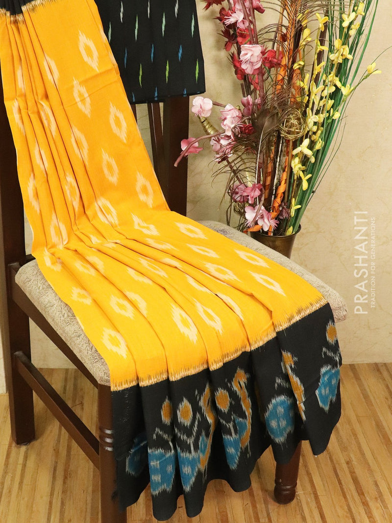 Ikat cotton saree mustard yellow and black with ikat woven blouse