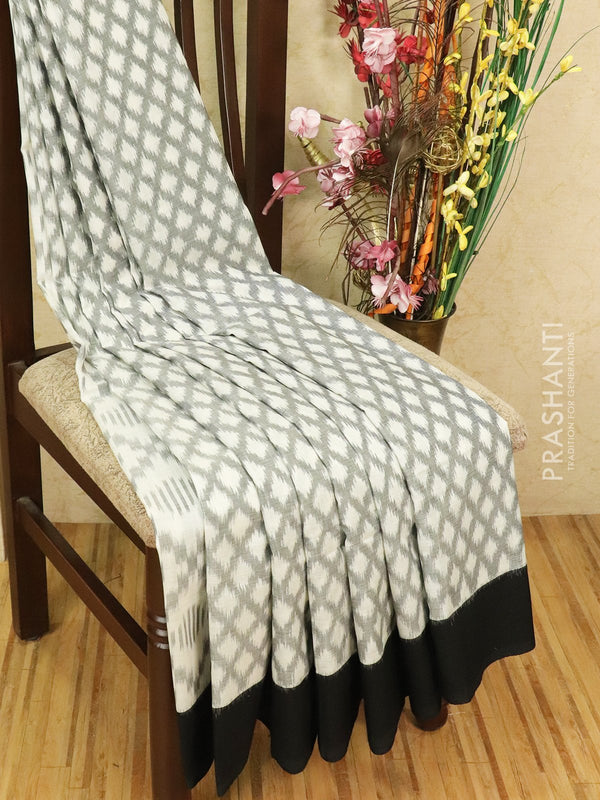 Ikat cotton saree grey and black with simple border