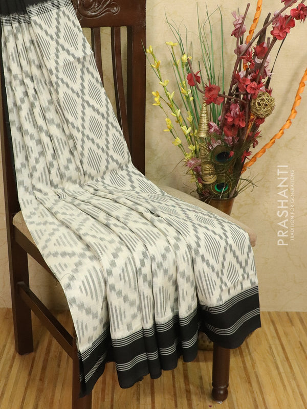 Ikat cotton saree off white and black with simple border