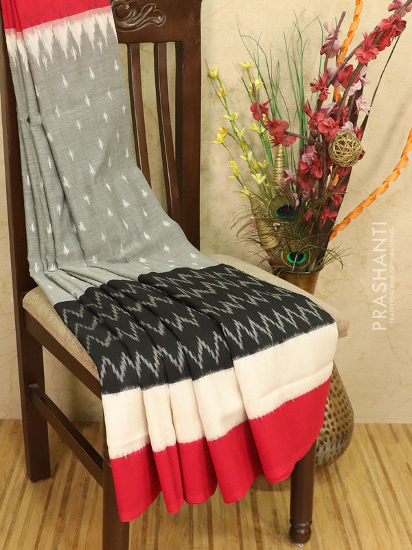 Ikat cotton saree grey and kumkum red with simple border