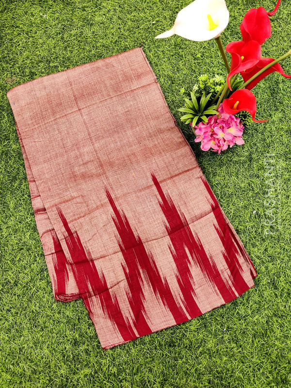 Ikat cotton saree maroon in temple style border without blouse