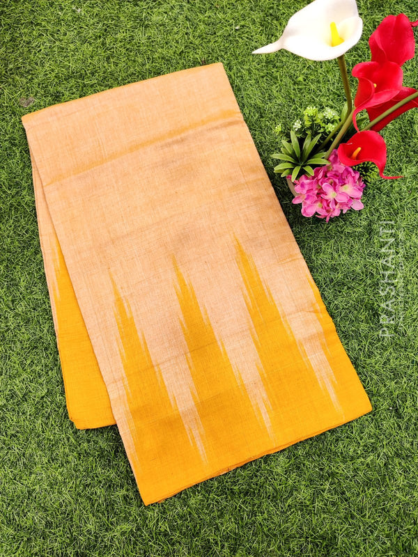 Ikat cotton saree yellow in temple style border without blouse