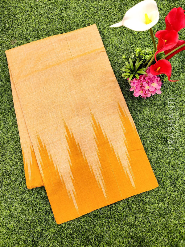 Ikat cotton saree mango yellow in temple style border without blouse