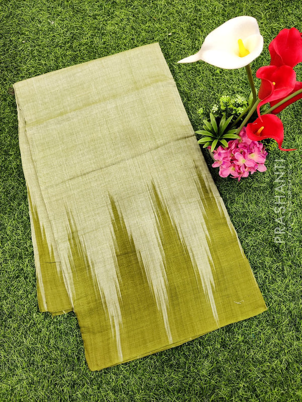 Ikat cotton saree olive green in temple style border without blouse