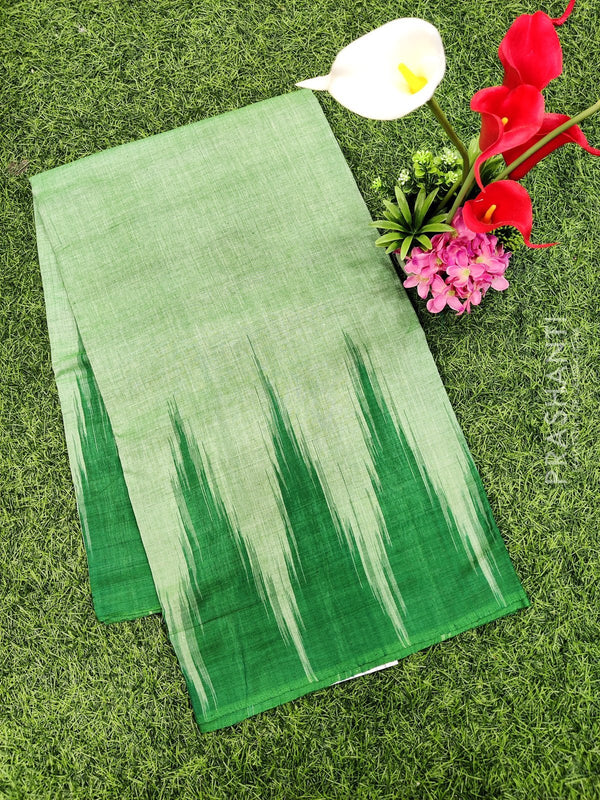 Ikat cotton saree green in temple style border without blouse