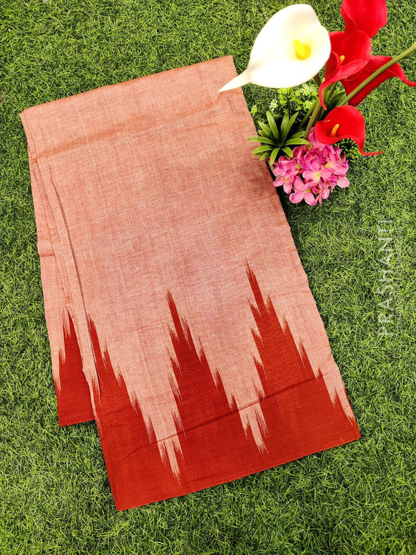 Ikat cotton saree brown in temple style border without blouse