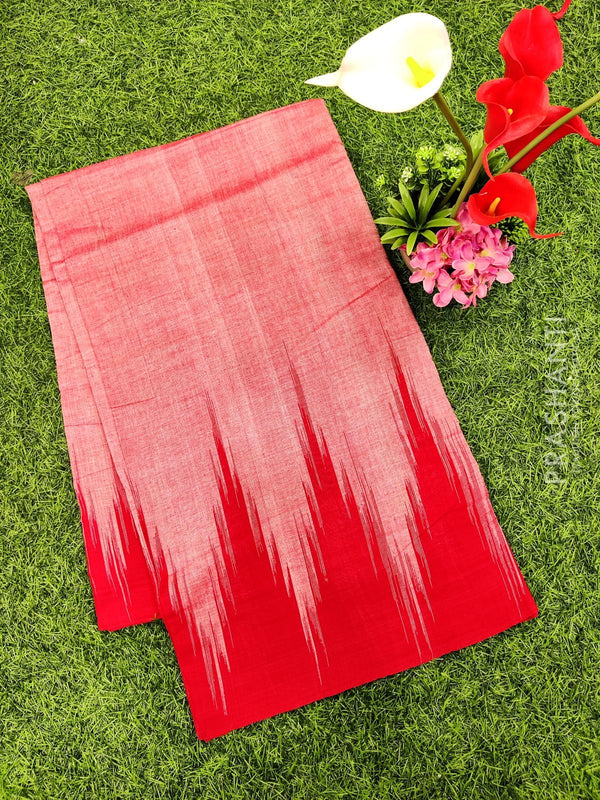 Ikat cotton saree red in temple style border without blouse