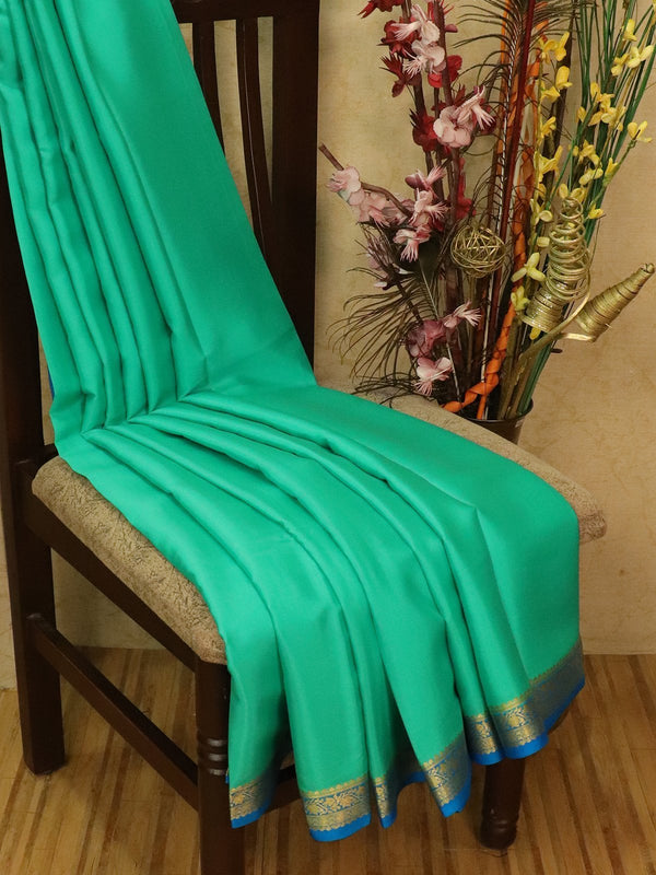Pure Mysore Crepe silk saree teal green and blue with zari woven border