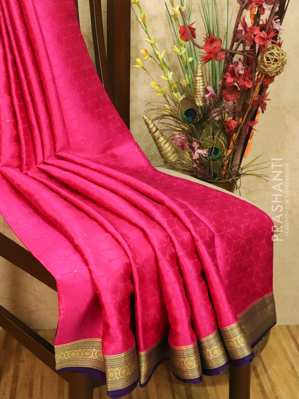 Pure Mysore Crepe silk saree pink and violet with self emboss and zari woven border