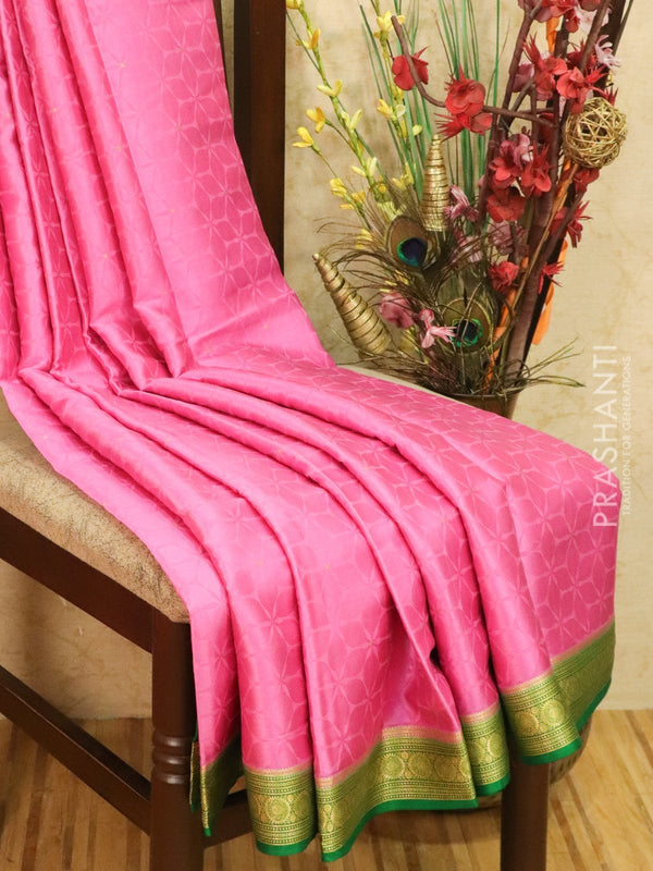 Pure Mysore Crepe silk saree light pink and green with self emboss and zari woven border