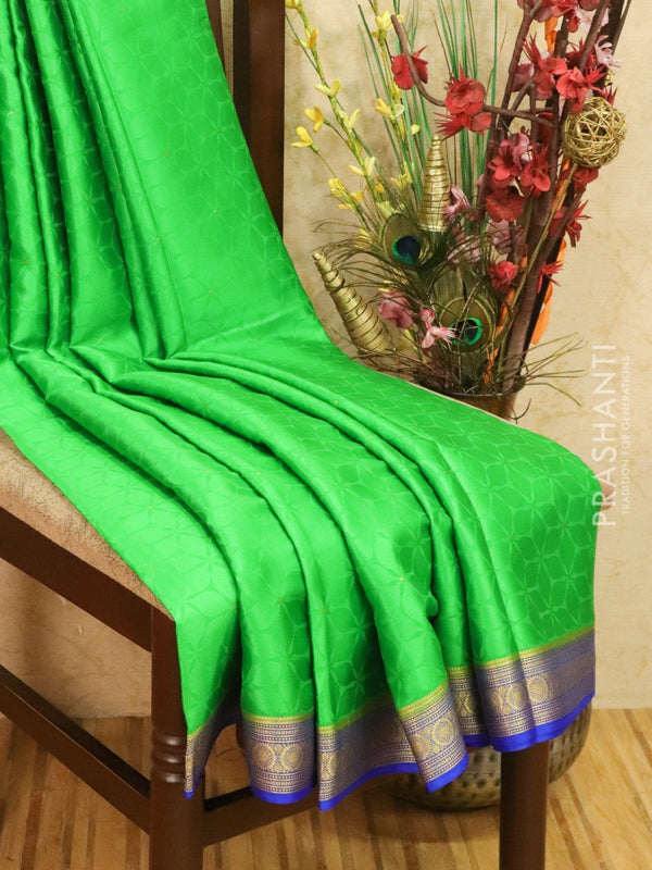 Pure Mysore Crepe silk saree green and blue with self emboss and zari woven border
