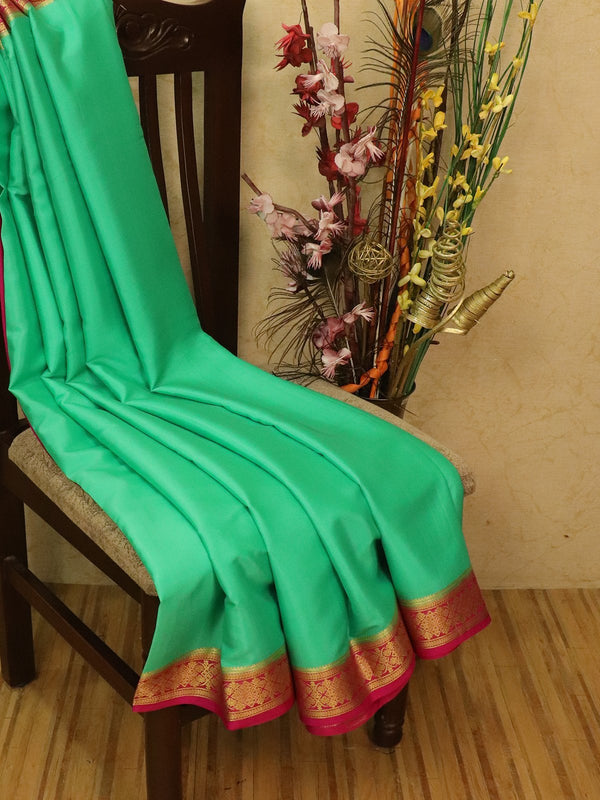 Pure Mysore Crepe silk saree teal green and pink with zari woven border